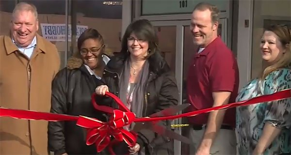 Ribon Cutting at grand reopening of Calavary Bookkeeping